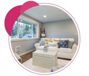 circle with img of room painted light blue